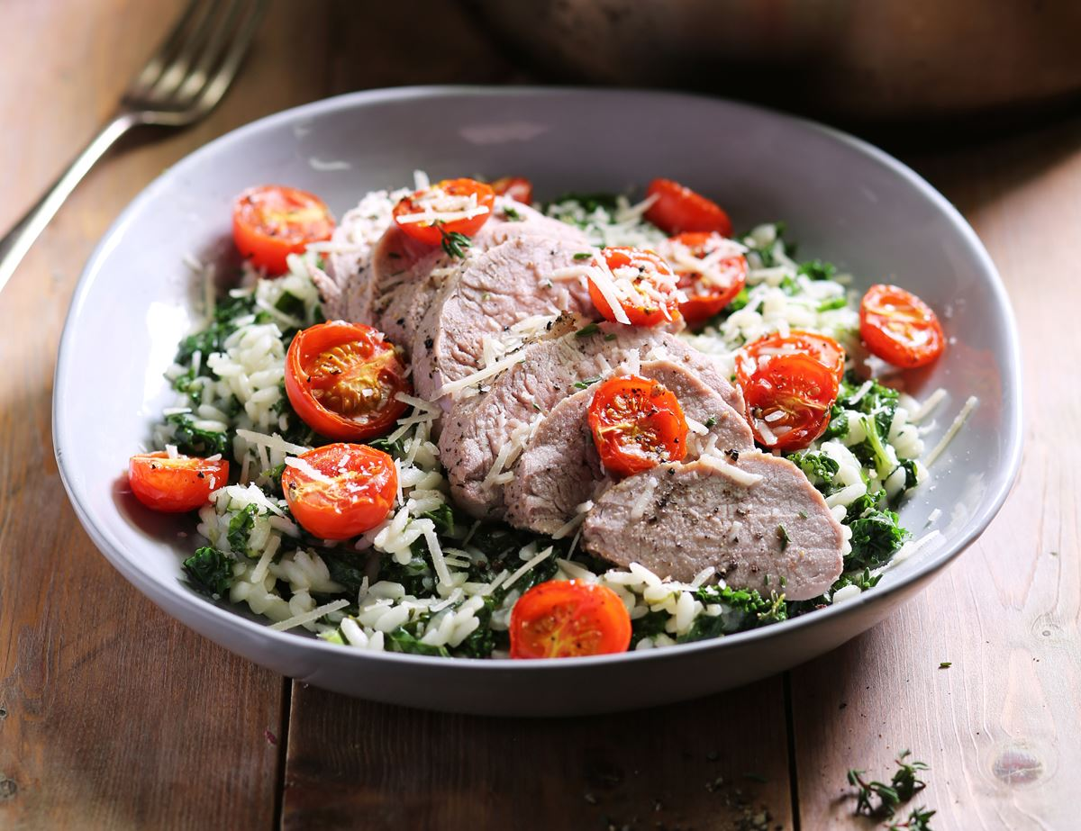Roast Pork Tenderloin with Creamy Kale Risotto