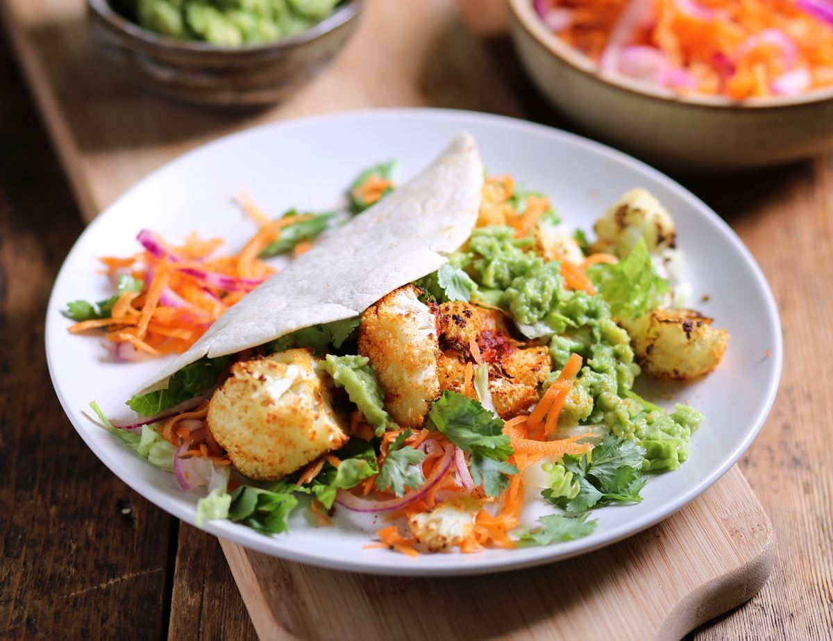 Roast Cauliflower Fajitas with Smashed Avocado
