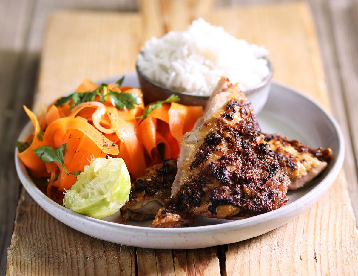Quick Jerk Chicken with Ribbon Carrot Salad & Rice