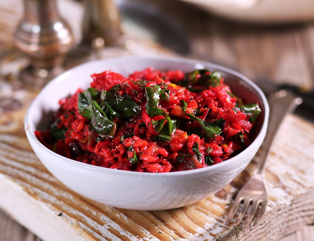 Baked Beet, Leek & Spinach Risotto