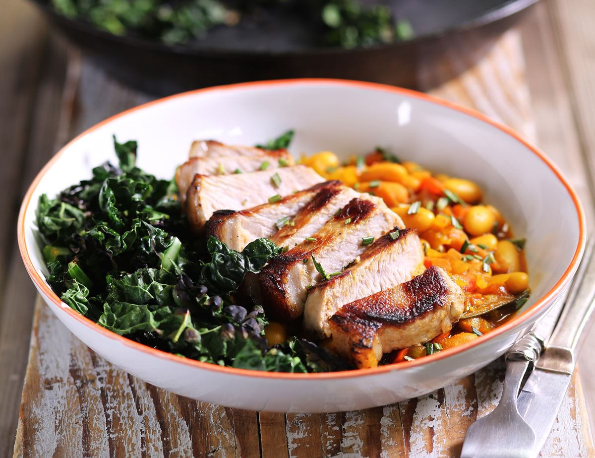 Pork Loin Steaks with Moorish Baked Beans
