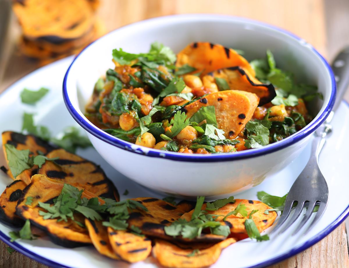 Griddled Sweet Potatoes with Curried Chickpeas