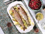 Roast Trout with Prosecco, Dill & Cream Sauce