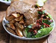 Chilli & Garlic Pork Lettuce Wraps with Chips