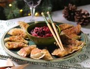 Christmas Dumplings with Spiced Cranberry Dip