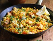 Golden Fish Paella with Lemon & Parsley