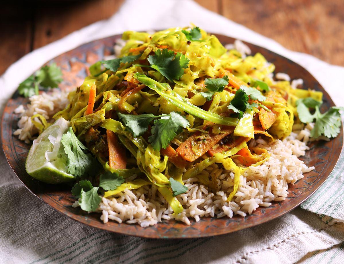 Speedy Keralan Savoy Cabbage Coconut Curry Recipe Abel Cole