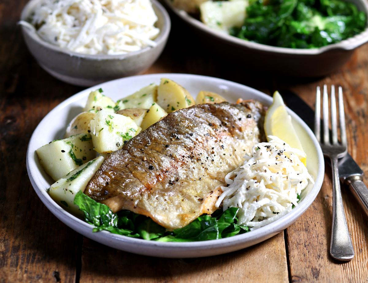 Grilled Trout with Horseradish Remoulade & Buttery Potatoes