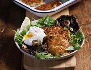 Cheesy Röstis with Poached Eggs & Roasted Portobellos