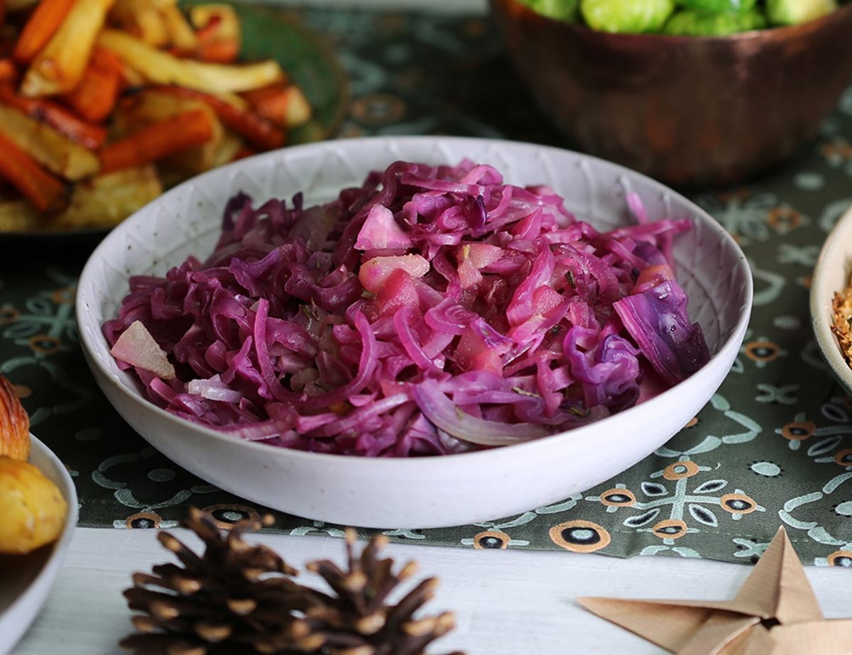 Cider & Pear Braised Red Cabbage