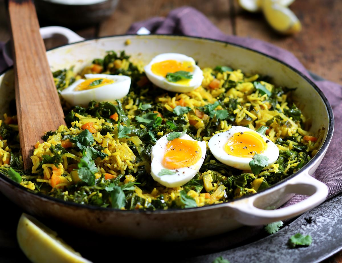 Winter Greens Vedgeree with Soft Boiled Eggs