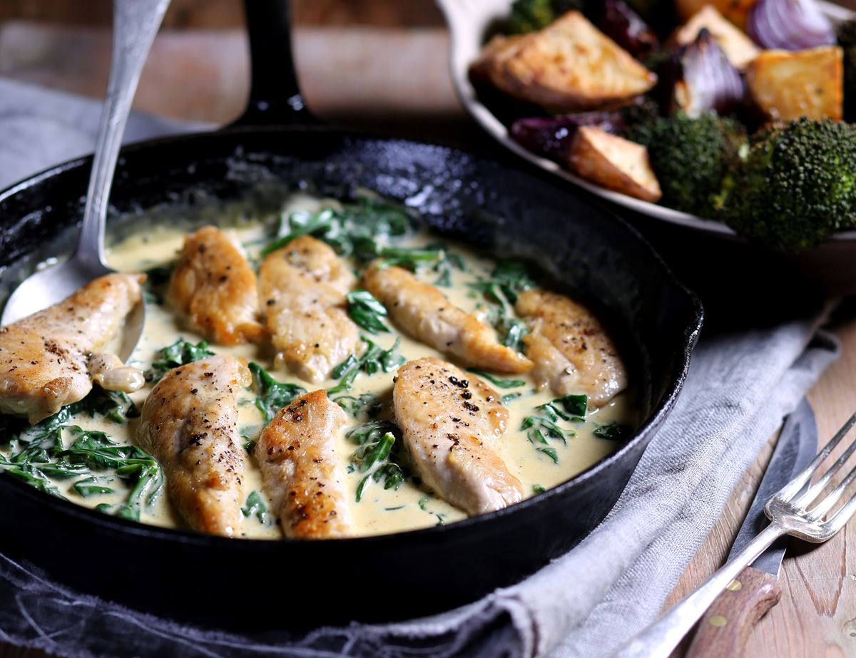 Chicken With Creamy Parmesan Spinach Sauce Recipe Abel Cole
