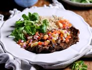 Jerk Spiced Minute Steaks with Pineapple Salsa