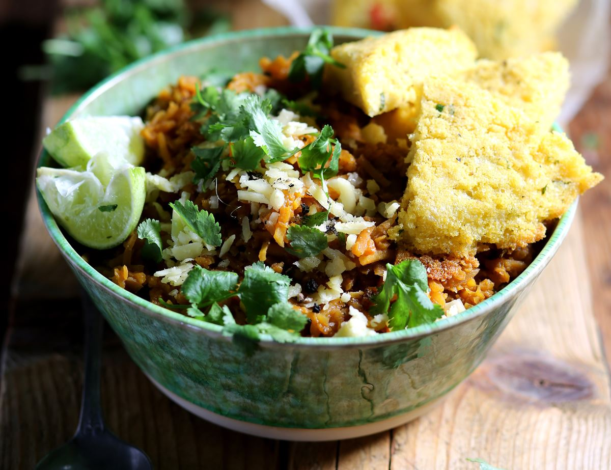 Butternut Squash Chilli with Cheesy Coriander Cornbread