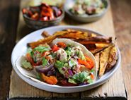 Fish Tacos with Guacamole & Sweet Potato Chips