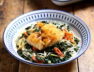 Honey Baked Cod & Steam Stirred Greens