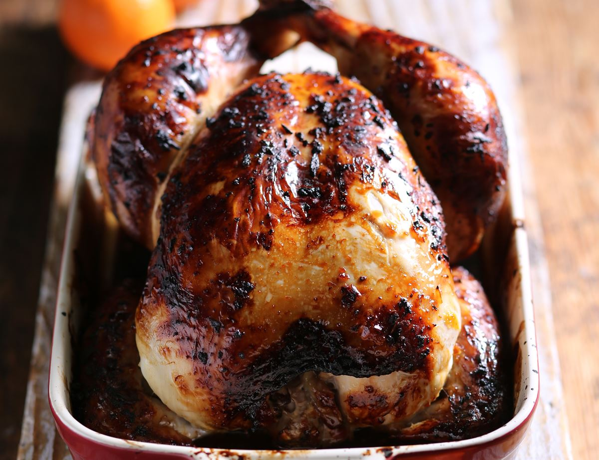 Roast Chicken with a Honey & Clementine Glaze