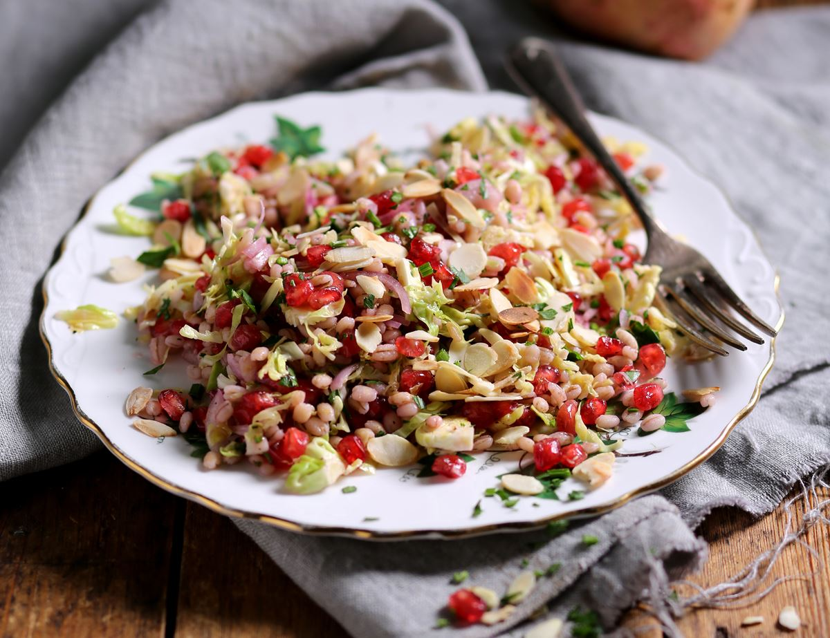 Pomegranate, Buckwheat & Brussels Sprout Salad