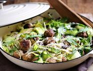 Speedy Spaghetti with Lamb Meatballs, Olives & Rosemary