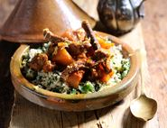 Moroccan Turmeric Beef & Squash Stew with Lemon Spinach Couscous