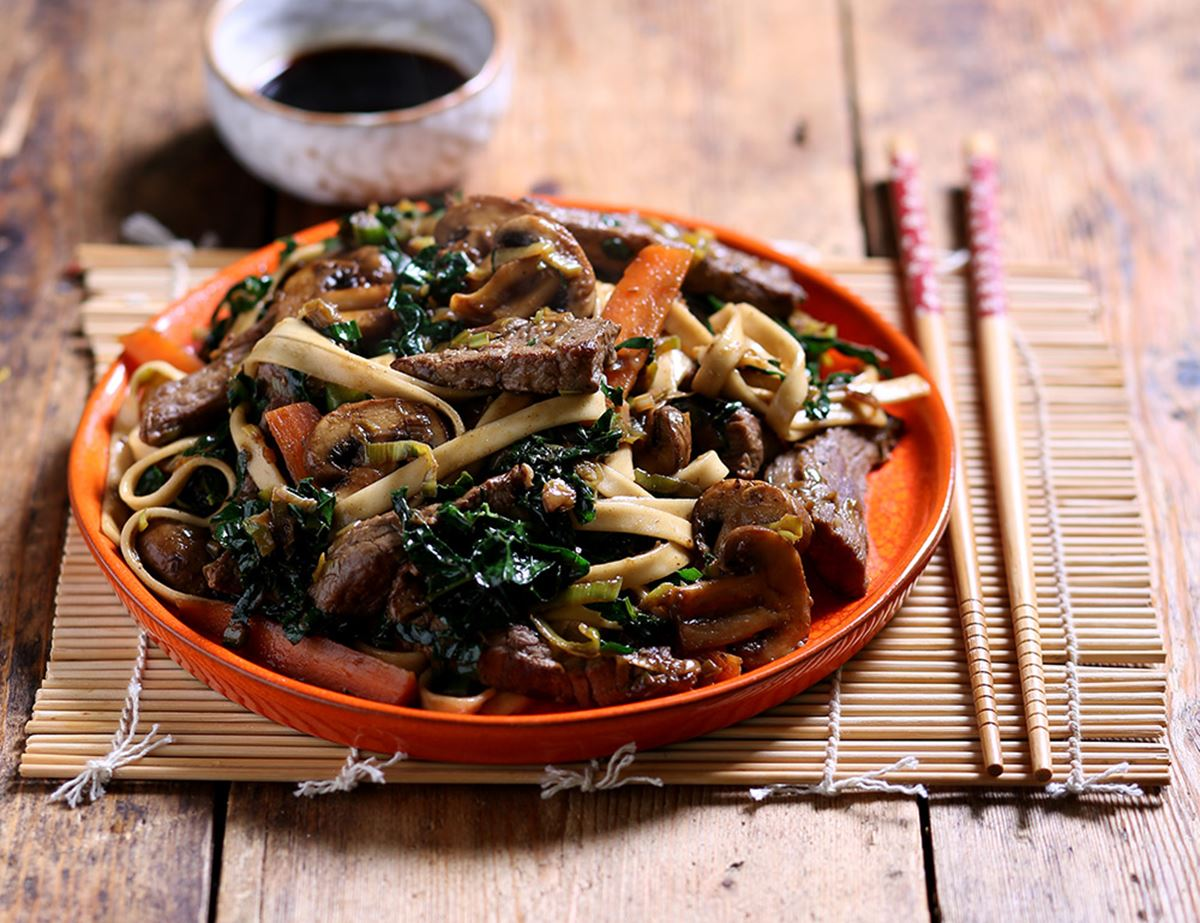 Japanese Miso Beef Noodles with Stir Fried Veg