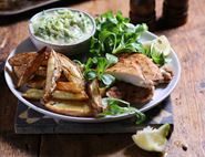 Indian Spiced Chicken & Chips with Cucumber Raita