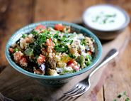 Syrian Smoked Aubergine, Fig & Bulgar Wheat Salad