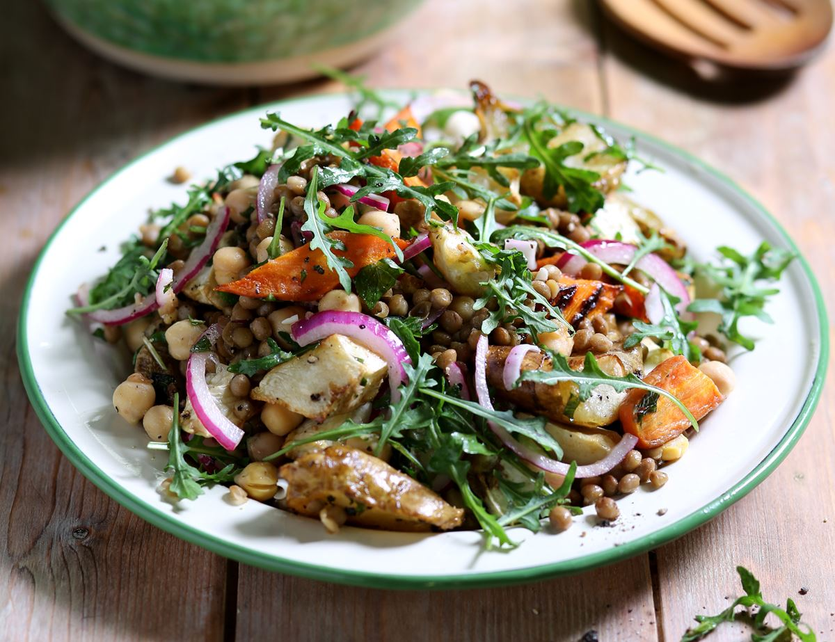 Warm Roasted Roots with Herby Lentil & Chickpea Salad