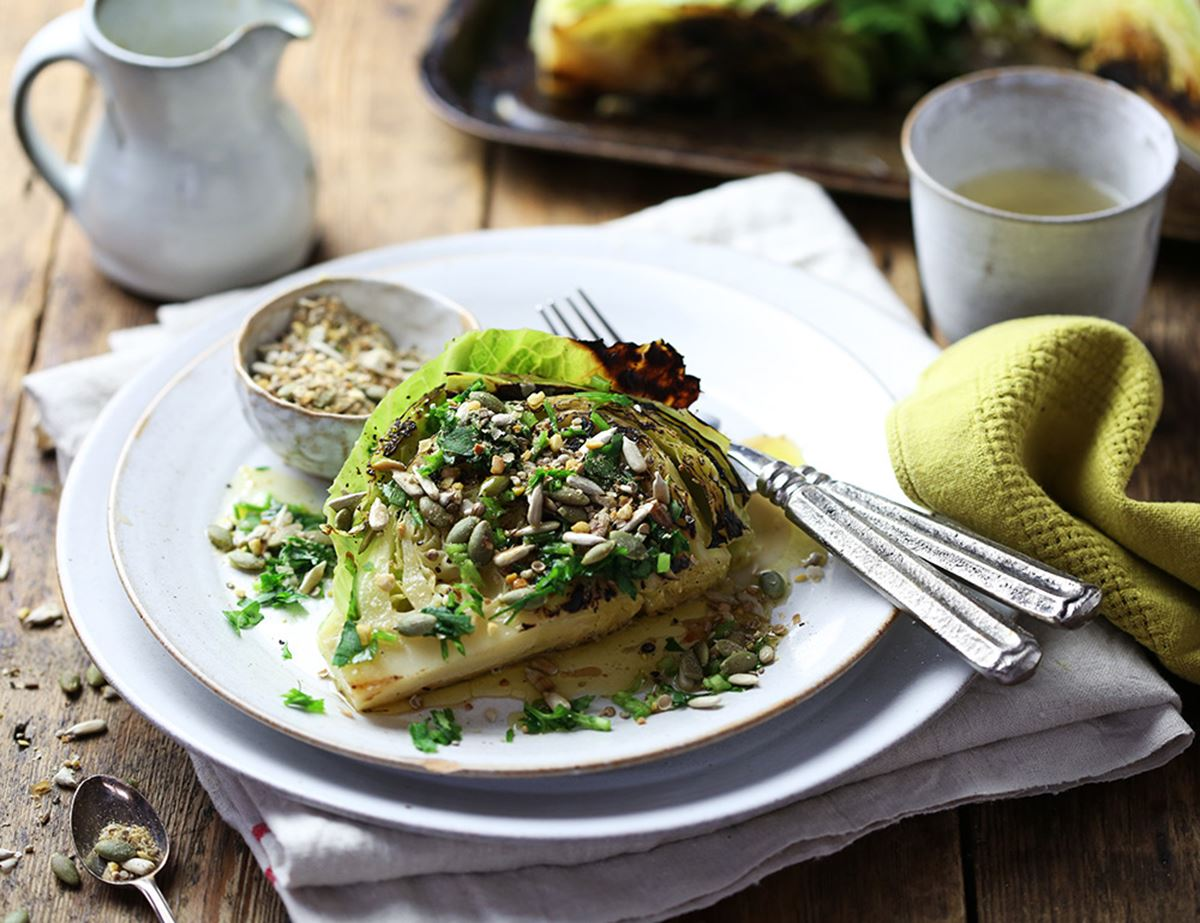 Griddled Cabbage Wedges with Spiced Butter & Seeds