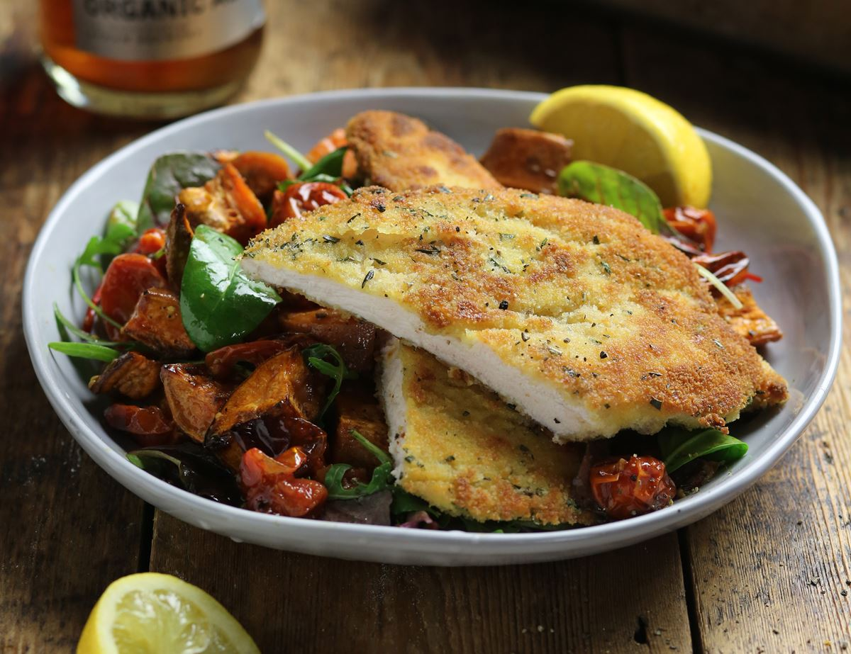 Rosemary Chicken Schnitzel with Garlicky Roast Sweet Potatoes
