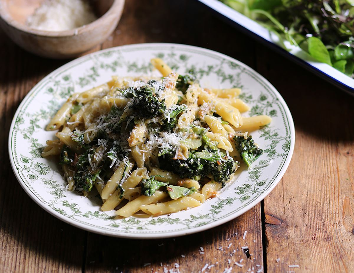 Purple Sprouting Broccoli & Pancetta Carbonara