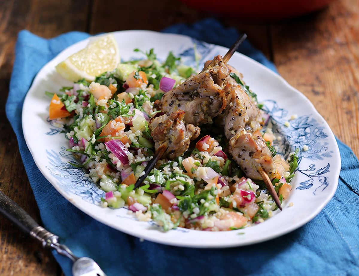 Garlic, Lemon & Oregano Chicken Kebabs with Bulgar Salad