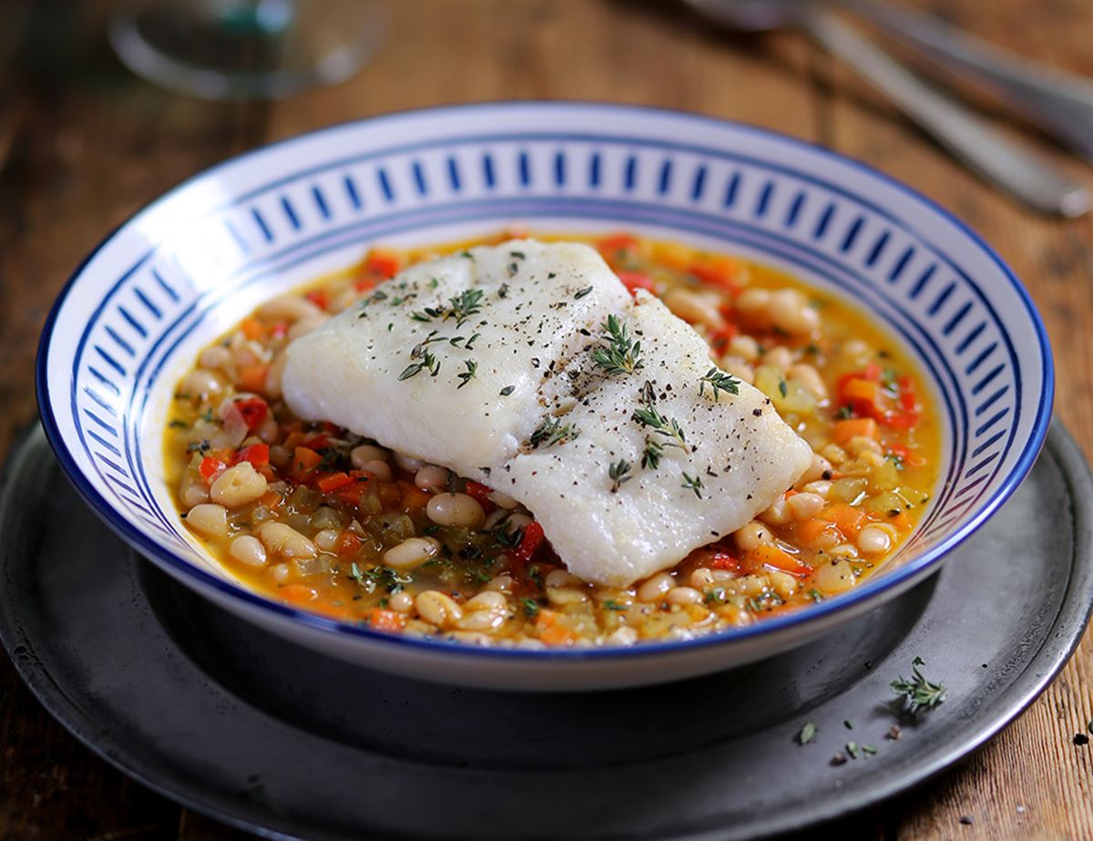 Grilled Hake with Haricot Bean Broth