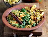 Spinach & Lentil Curry with Bombay Parsnips