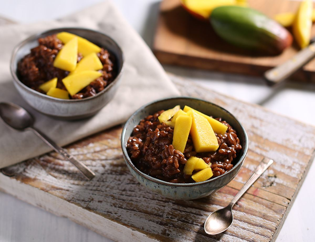Chocolate, Coconut & Mango Rice Pudding