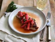 Spiced Gammon Steaks with Honeyed Rhubarb