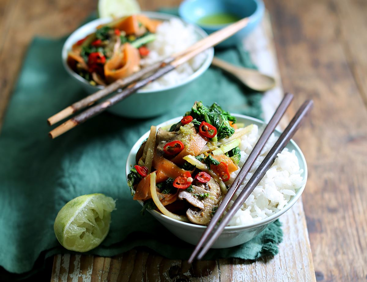 Speedy Japanese Miso Stir Fry & Sticky Rice