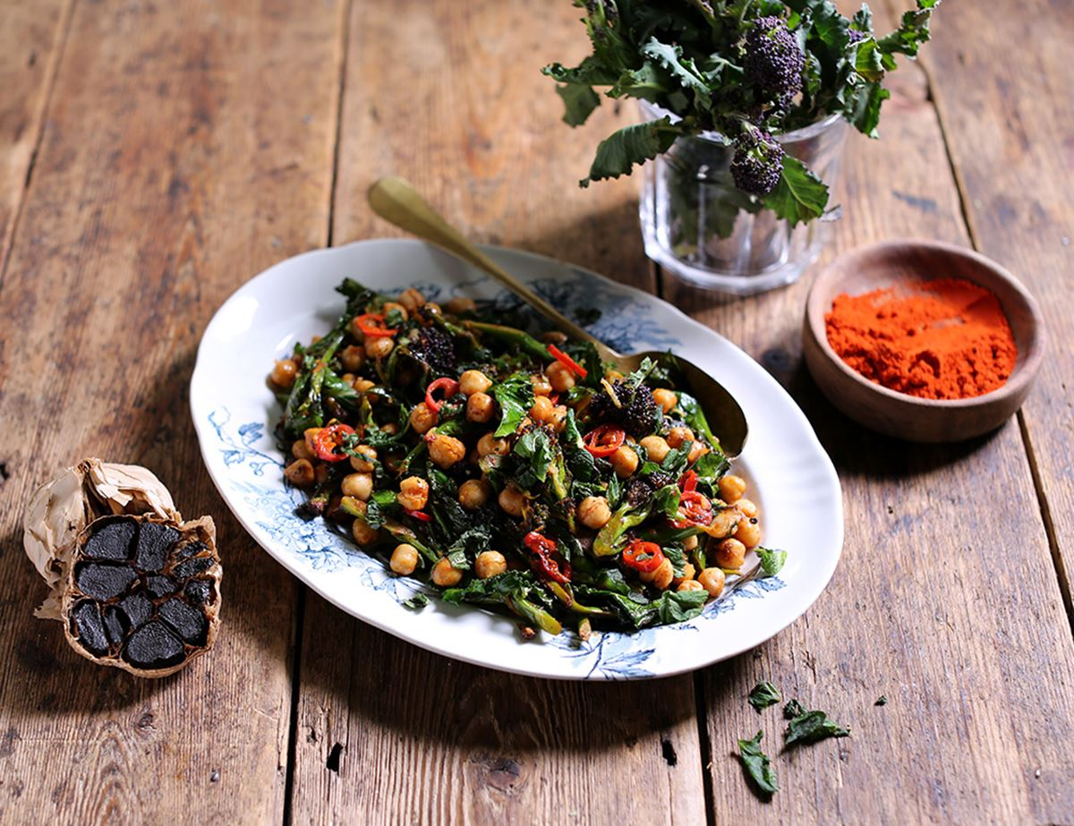 Speedy Purple Sprouting Broccoli with Black Garlic & Chickpeas