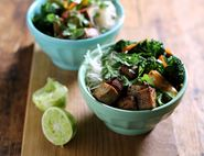 Golden Tofu & Sweet Baby Broccoli Bun Chay