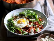 Smoky Haricot Bean Stew with Lardons, Crispy Eggs & Feta