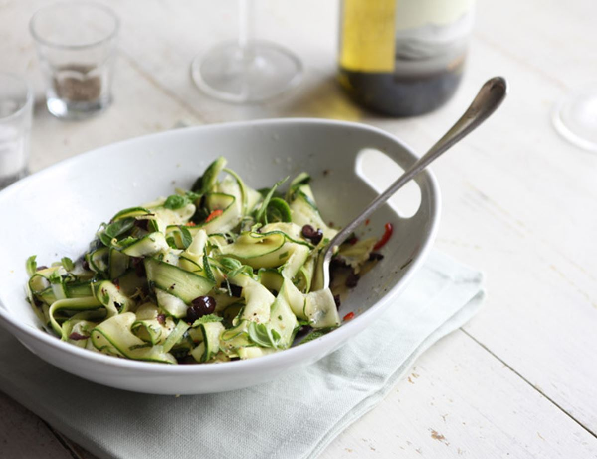 Courgette Ribbons with Lemon, Chilli and Olives
