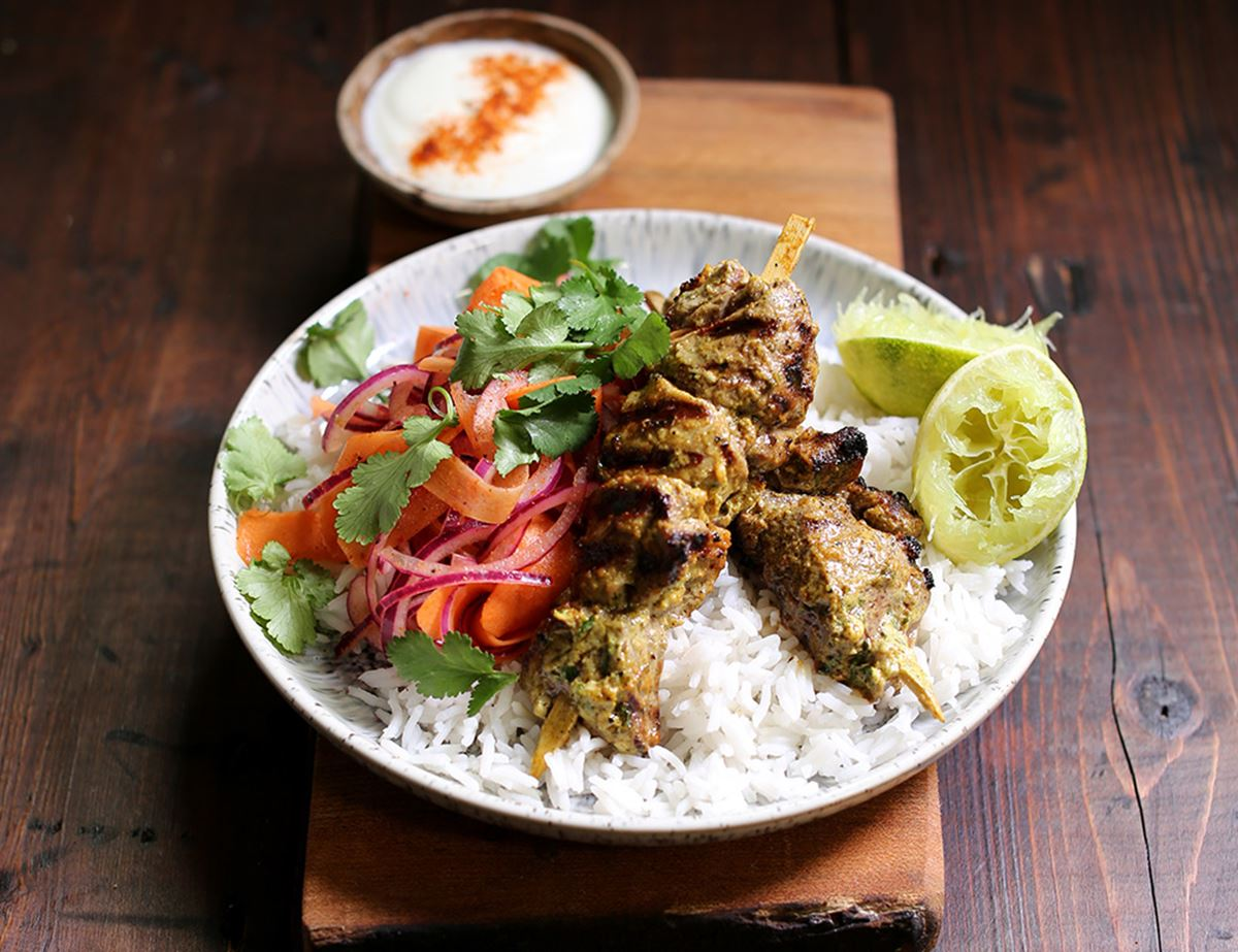 Lamb Boti Kebabs with Quick Lime Pickles & Rice