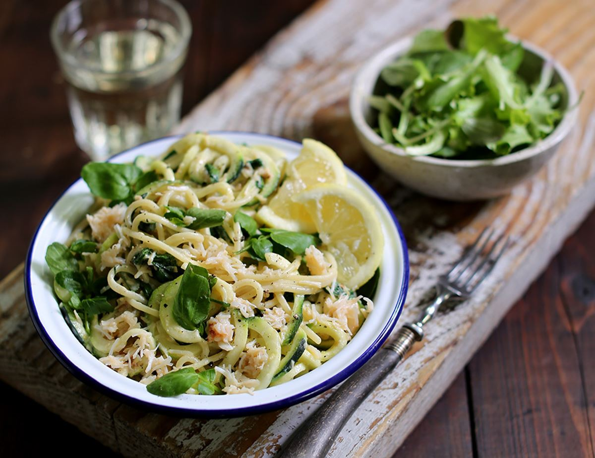 Spaghetti with Creamy Crab & Watercress Sauce