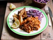 Pulled Barbecue Jackfruit with Cabbage Slaw & Wedges