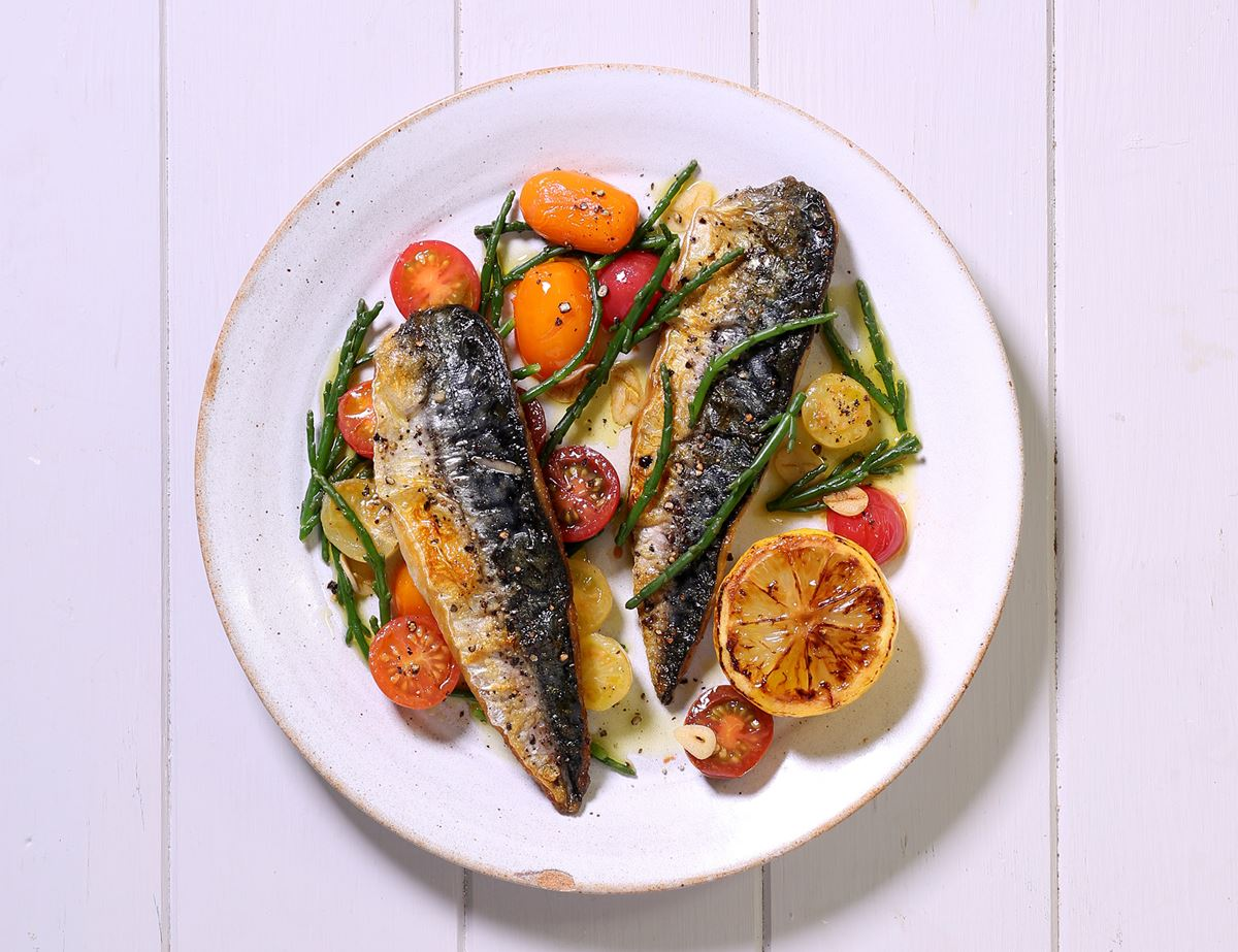 Grilled Mackerel with Heirloom Tomatoes & Samphire