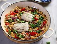 One Pan Roast Pollock with Butter Beans
