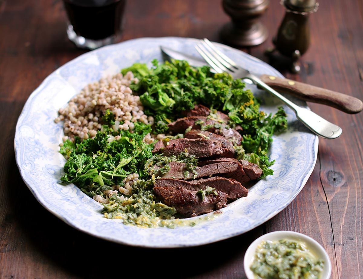 Seared Venison Steaks with Herb Sauce & Lemon Greens