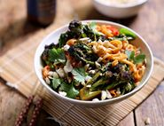 Speedy Peanut Noodles with Purple Sprouting Broccoli