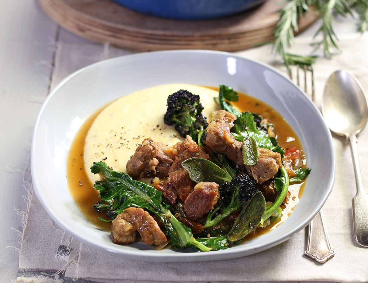 Warming Italian Lamb & Purple Sprouting Broccoli Stew with Creamy Polenta