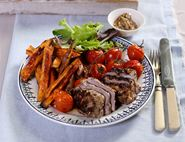 Mustard Crusted Pork Tenderloins with Sweet Potato Chips